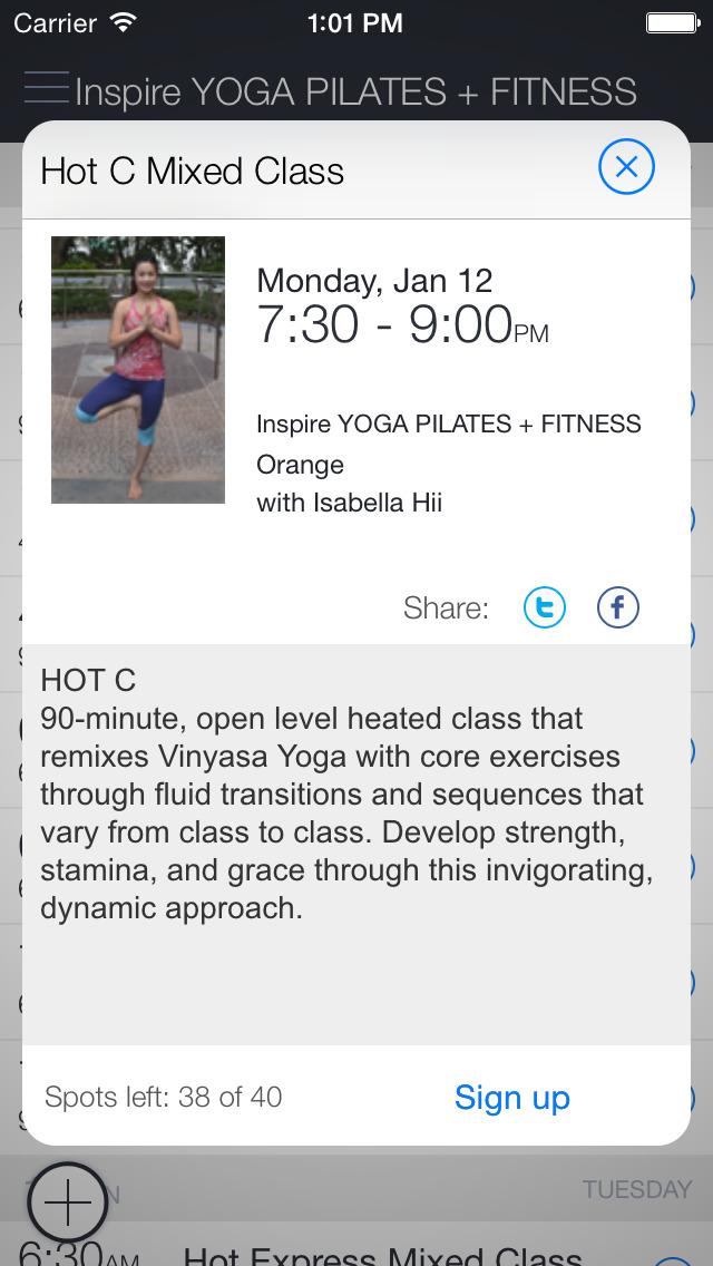 Inspire Yoga+Pilates+Fitness screenshot 2