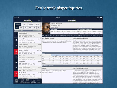 RotoWire Fantasy Football Assistant 2014 screenshot 10