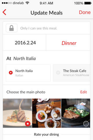 DINE AT - Social Network & Food Diary for Foodies - náhled