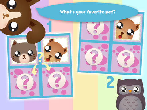 Play with Cute Baby Pets Chibi Memo Game for a whippersnapper and preschoolers screenshot 7