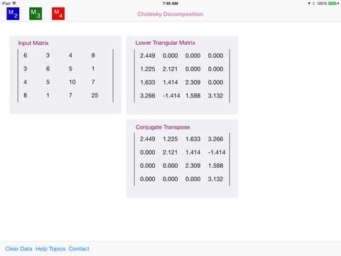 Cholesky Decomposition (iPad) reviews at iPad Quality Index