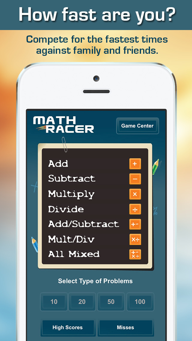 Math Racer 3.0 - Addition, Subtraction, Multiplication and Division Tables Speed Game screenshot 1