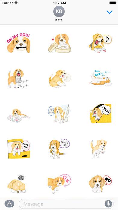 Travel of Beagle Dog Sticker screenshot 2
