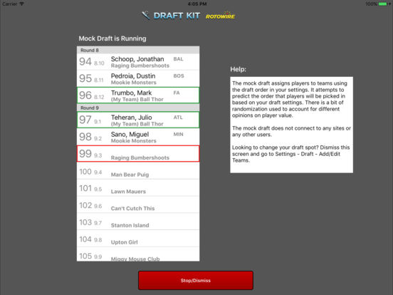 RotoWire Fantasy Baseball Draft Kit 2017 screenshot 7