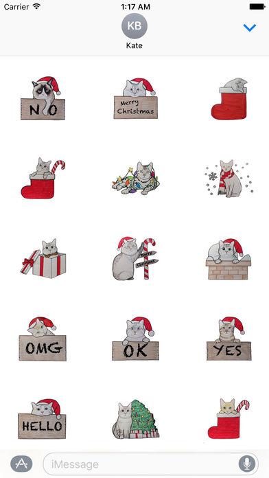 Cute Cats Merry Christmas Stickers screenshot 1
