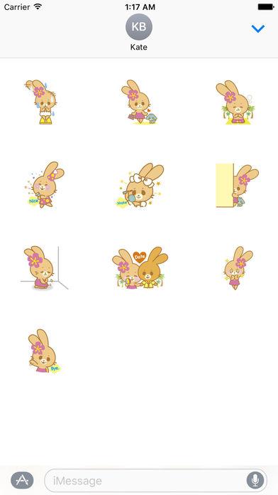 Cute Rabbit In Hawaii Sticker Packs screenshot 3