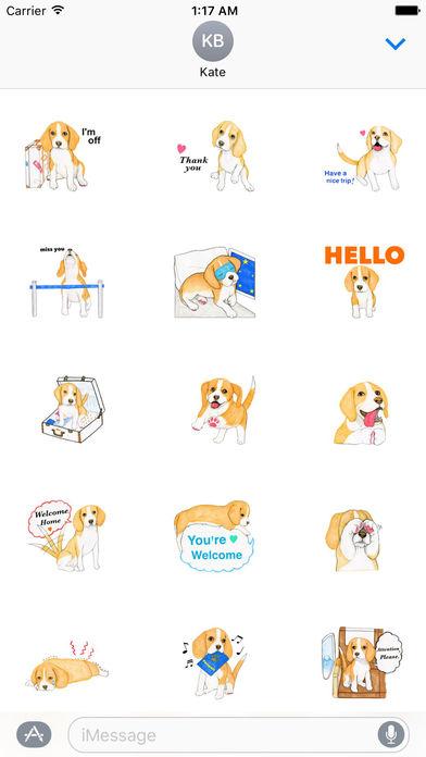 Travel of Beagle Dog Sticker screenshot 1