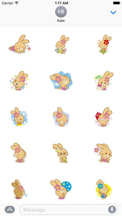 Cute Rabbit In Hawaii Sticker Packs screenshot 2