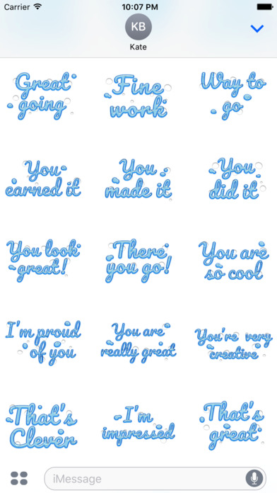 Compliment - Cool Water Text Stickers screenshot 5