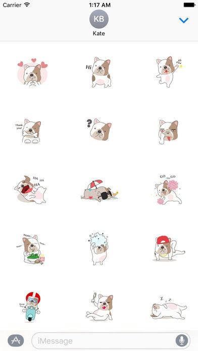 Funny English Bulldog Sticker Pack screenshot 1