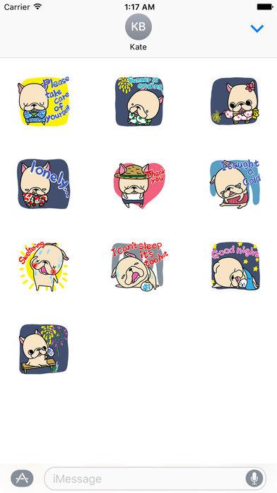 Holiday Summer of Frenchie Dog Sticker screenshot 3