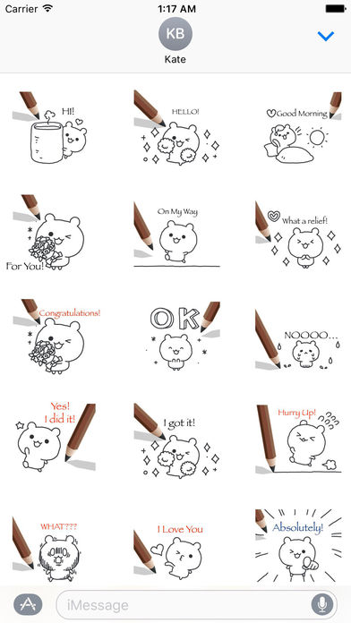 Animated Cute Pencil Bear With Words Sticker screenshot 1