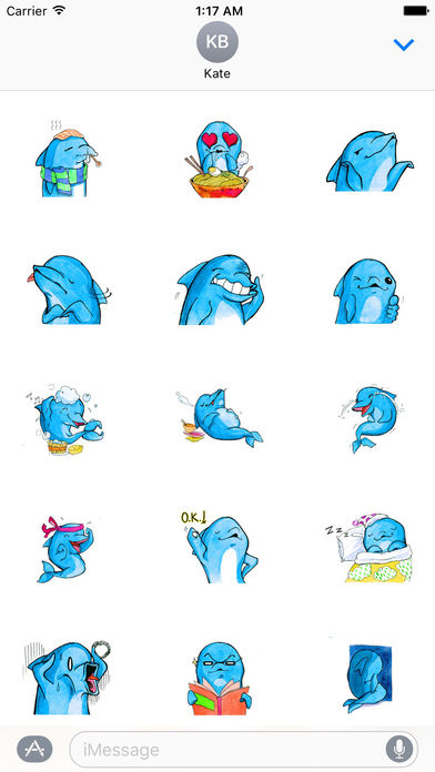Watercolor Funny Dolphin Sticker screenshot 3