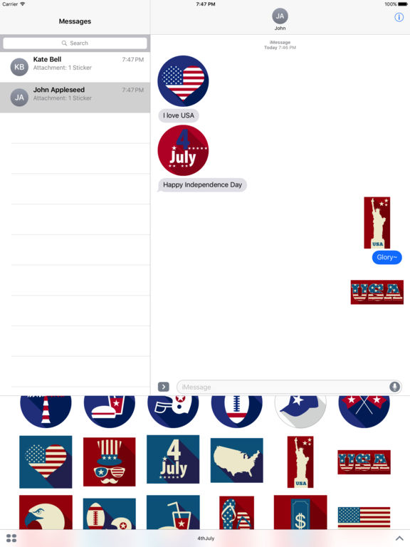 4th of July - Minimal Independence Day Stickers screenshot 6