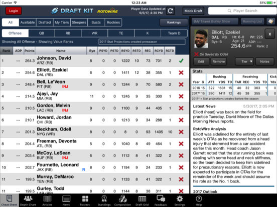 RotoWire Fantasy Football Draft Kit 2017 screenshot 6