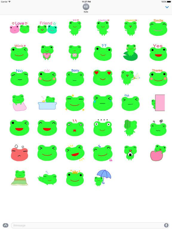 Cute Green Frog Emoji Sticker screenshot 4