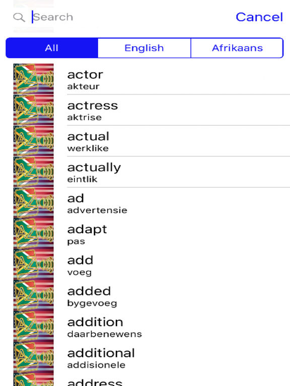Afrikaans Dictionary GoldEdition screenshot 7
