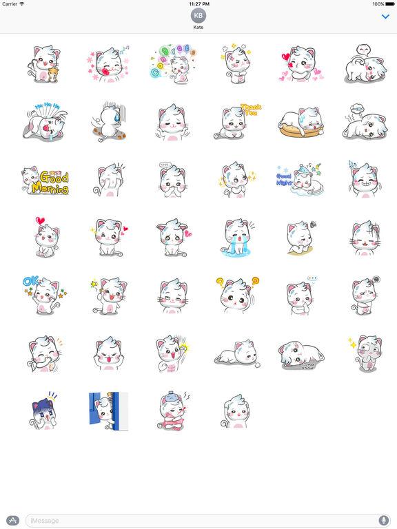 Snow Cat So Cute Sticker screenshot 4