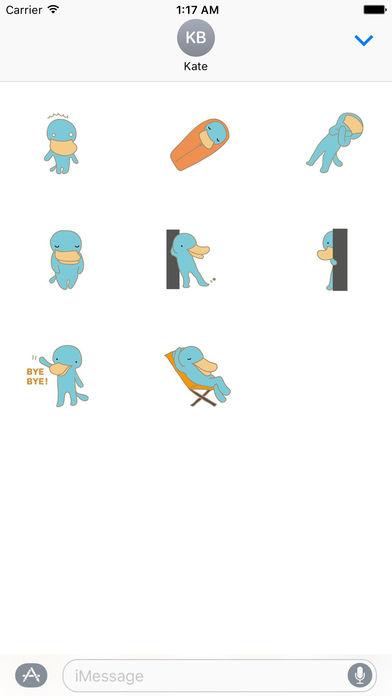 Cute Platypus Surfing Sticker screenshot 3