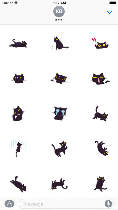Soft Black Cat Catmoji Sticker screenshot 2
