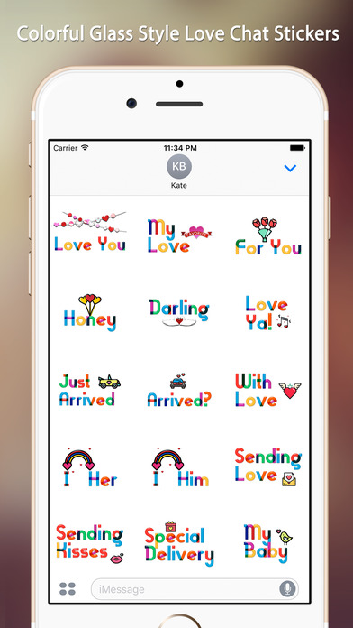 Lovely Colorful Glass Sensitive Word Stickers screenshot 1
