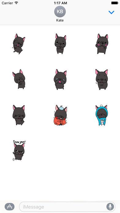 Lovely Black French Bulldog Sticker screenshot 3