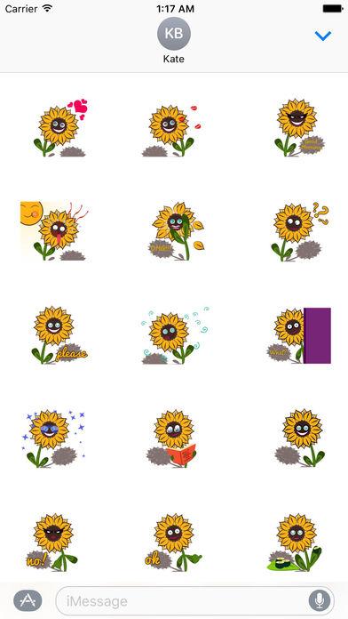Cute Sunflower - Flowermoji Sticker screenshot 1
