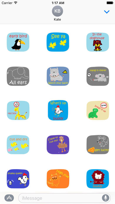 American Slang with Cute Animals Sticker screenshot 2