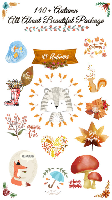 Autumn Love - Animal & Text & Elements Pack screenshot 1