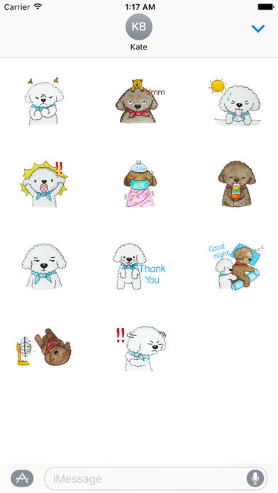 Love and Poodle Dogs Watercolor Sticker screenshot 3