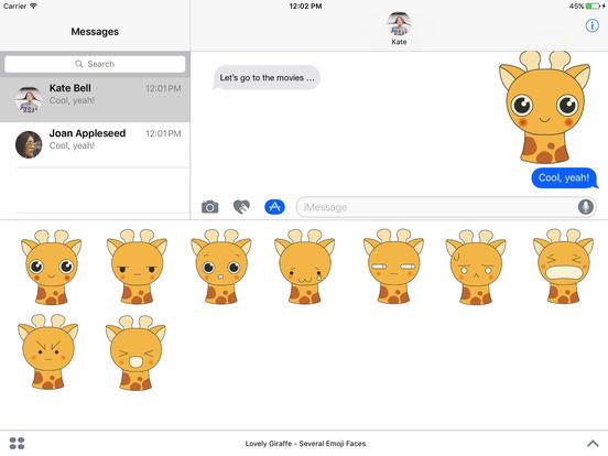 Lovely Giraffe - Several Emoji Faces screenshot 2