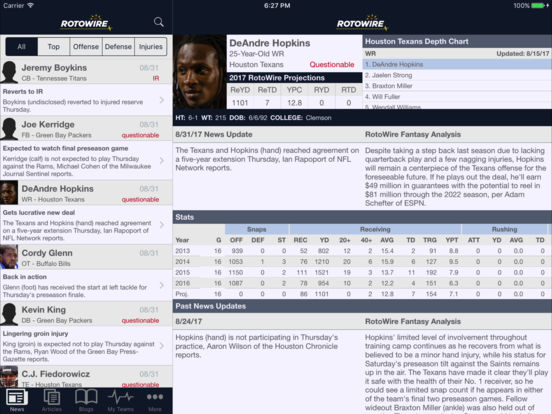 RotoWire Fantasy Football Assistant 2017 screenshot 10