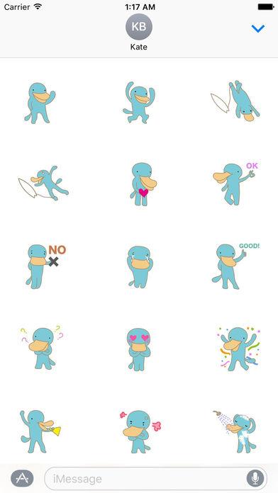 Cute Platypus Surfing Sticker screenshot 2