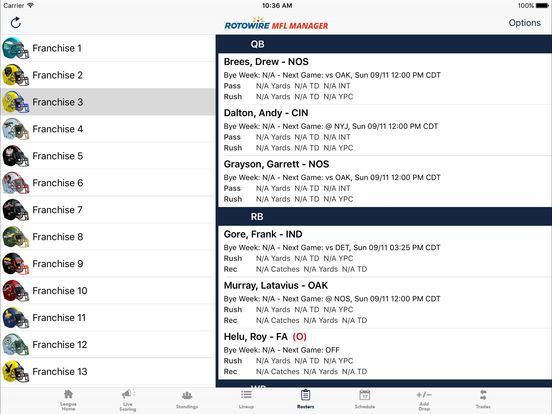 MyFantasyLeague Manager 2016 by RotoWire screenshot 8