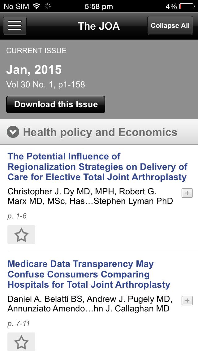 The Journal of Arthroplasty screenshot 5