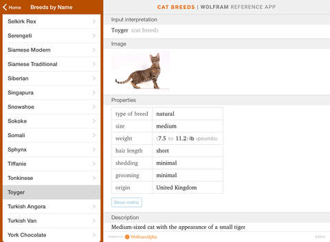 Wolfram Cat Breeds Reference App screenshot 8