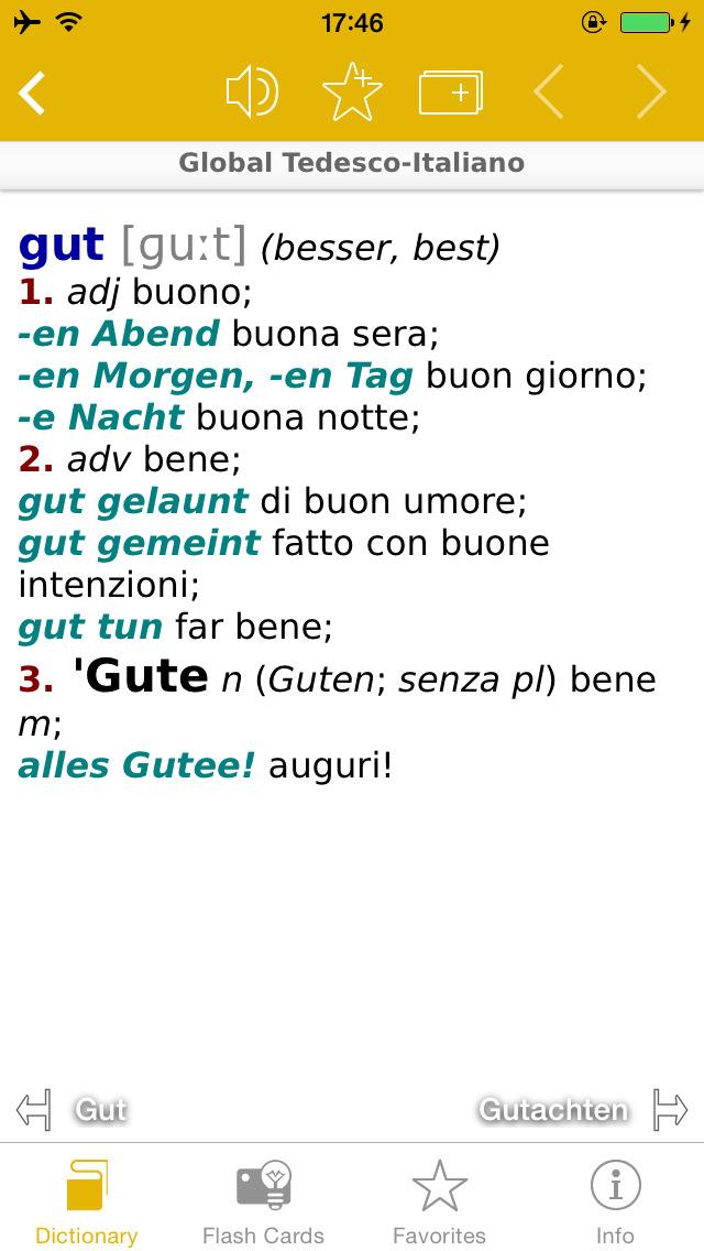 German <-> Italian Talking Dictionary Global Mondadori Langenscheidt screenshot 4