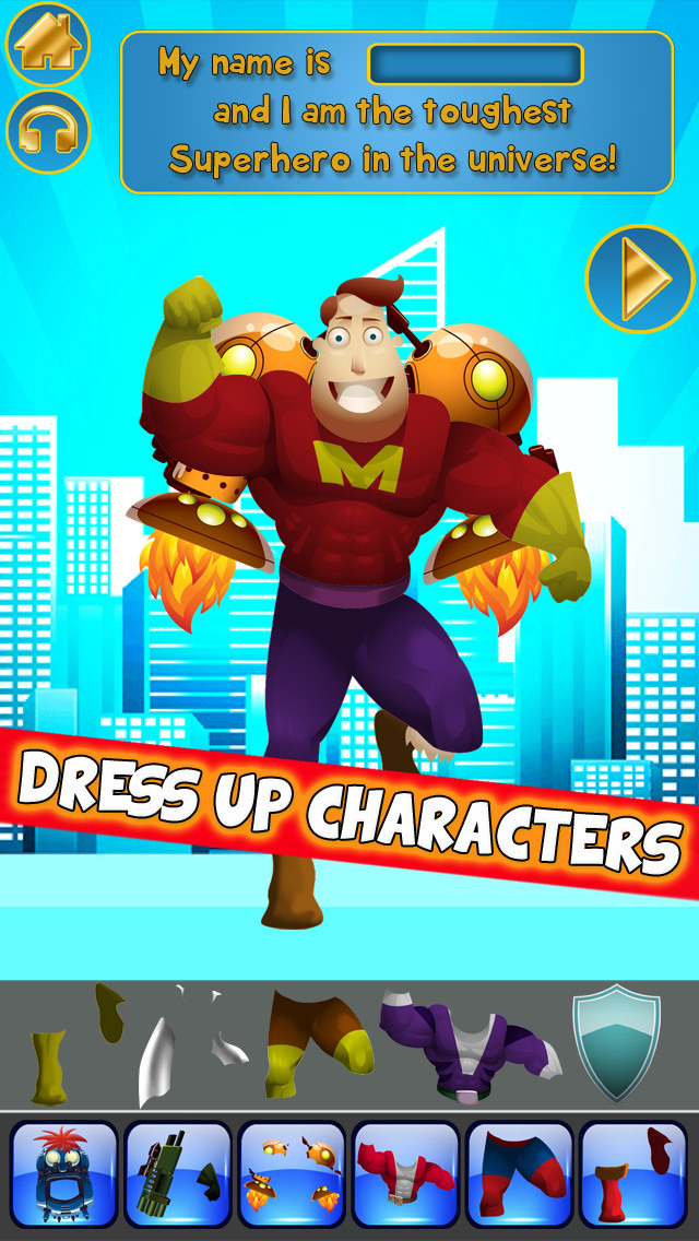 Create My Own Interactive Action Superheroes And Super Villains Story Books Advert Free Game screenshot 1