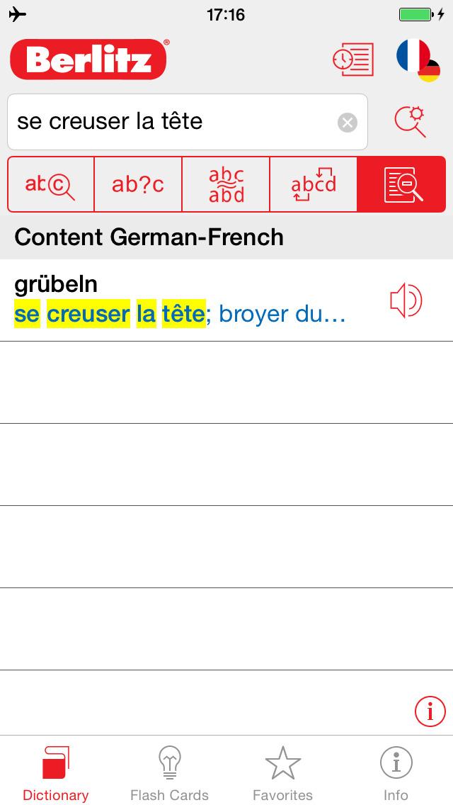 German - French Berlitz Mini Talking Dictionary screenshot 2