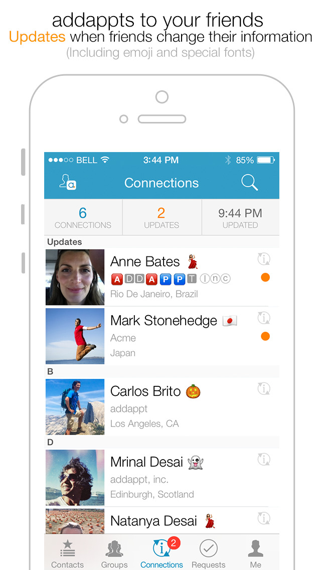 addappt: Live Contacts+Weather screenshot 2