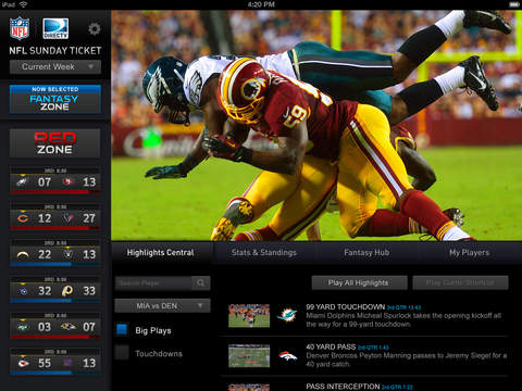 NFL SUNDAY TICKET for iPad screenshot 1