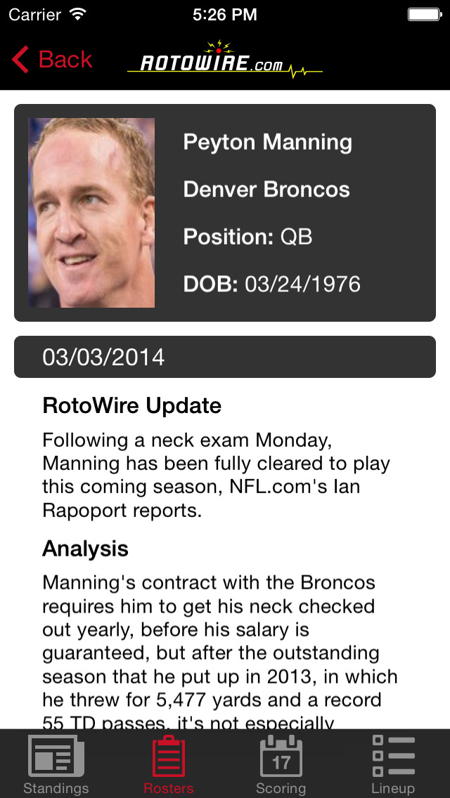 RT Sports Football Manager 2014 by RotoWire screenshot 3