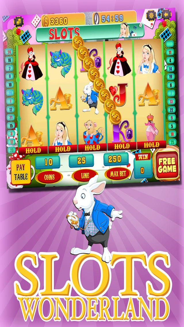 A Lucky Rabbit Slots Game - Vegas Wonderland Casino Games HD screenshot 1