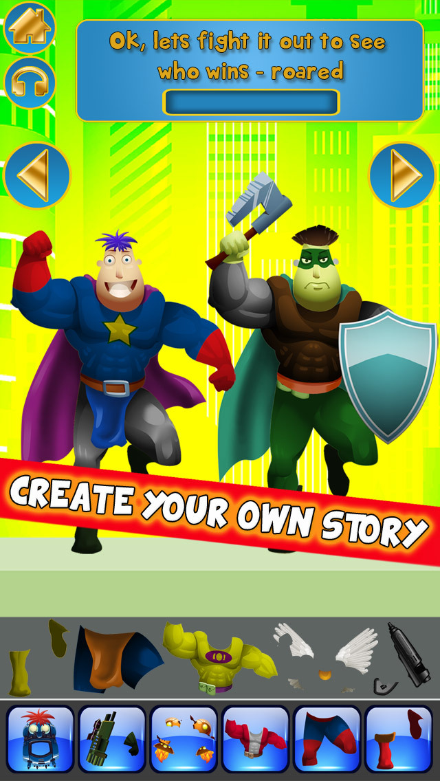 Create My Own Interactive Action Superheroes And Super Villains Story Books Advert Free Game screenshot 4