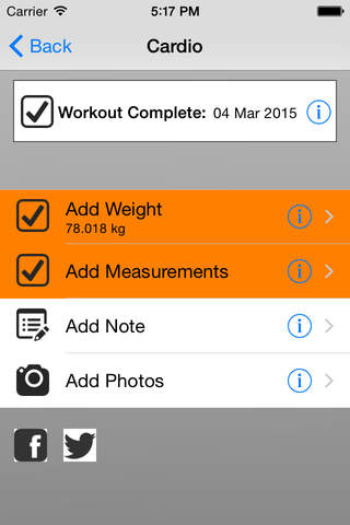 Log for 25 Minute Workout - náhled