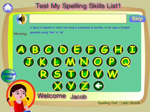 Spelling Doll English Words From Spanish Origin Vocabulary Quiz  Grammar screenshot 9