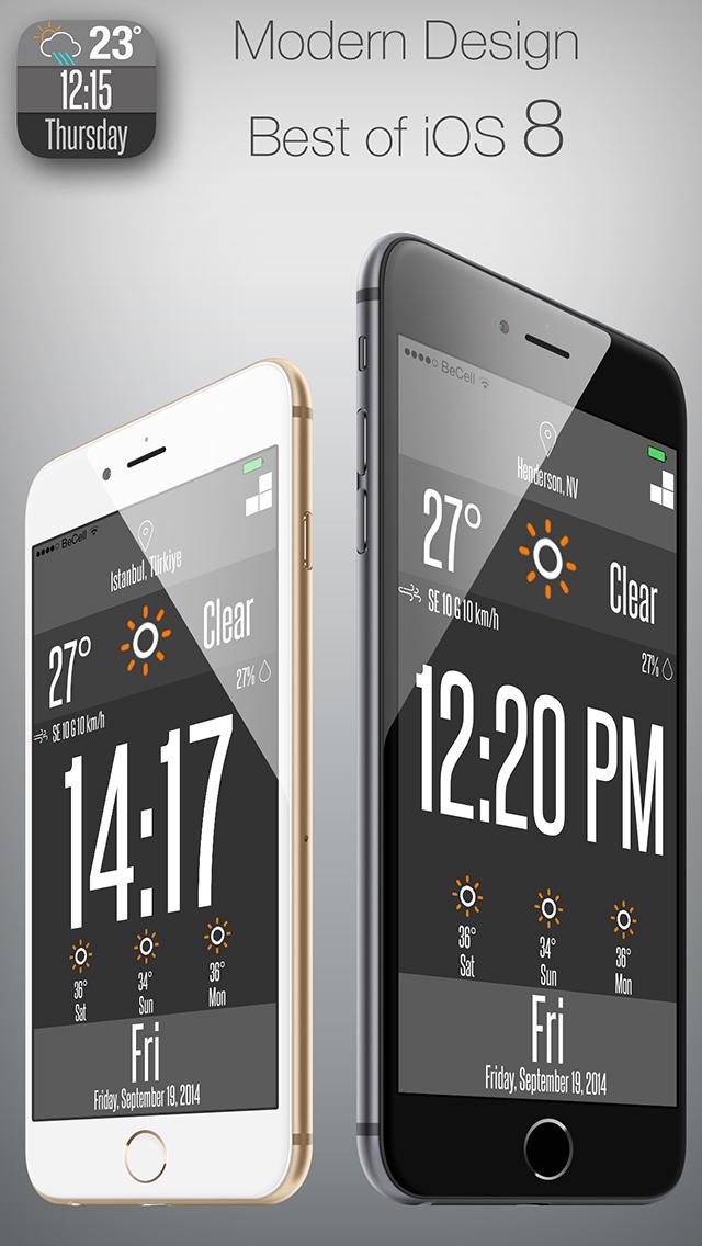 cLockWeather 5.5 inch - 4.7 inch for iOS 8 screenshot 1
