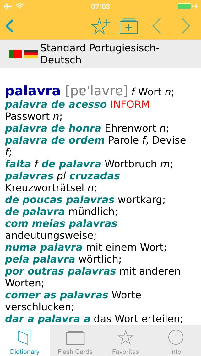 Portuguese <-> German Dictionary Standard screenshot 1