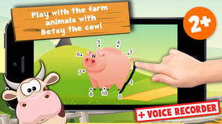 Kids Puzzle Teach me Tracing & Counting with Farm Animals Cartoon learn that the cow sleeps in the barnyard, the chicken lays eggs and the piggy loves mud screenshot 1