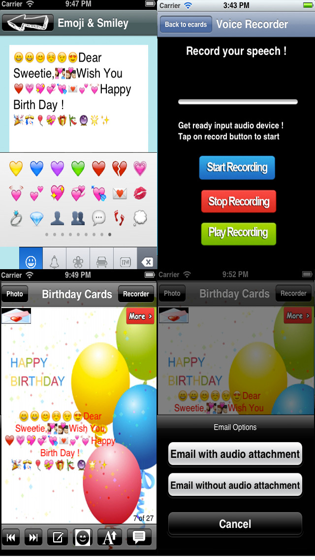 The Ultimate Happy Birthday Cards (Lite Version). Custom and Send Birthday Greetings eCard with emoji, text and voice messages screenshot 5